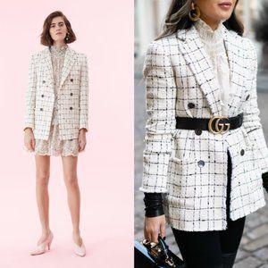 REBECCA TAYLOR Plaid Tweed Blazer in Cream